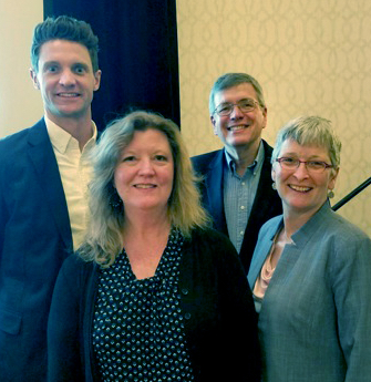 Fuentek's Becky Stoughton (front) with panelists (left to right) WARF's Justin Anderson, NIH's Steven Ferguson, and MIT's Lesley Millar-Nicholson