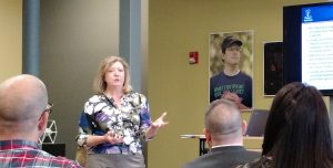 Fuentek VP Becky Stoughton at the Alpha Loft Launch Series event in Manchester, NH.