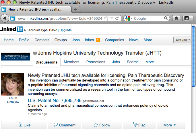 Sample technology posting on LinkedIn from Johns Hopkins University
