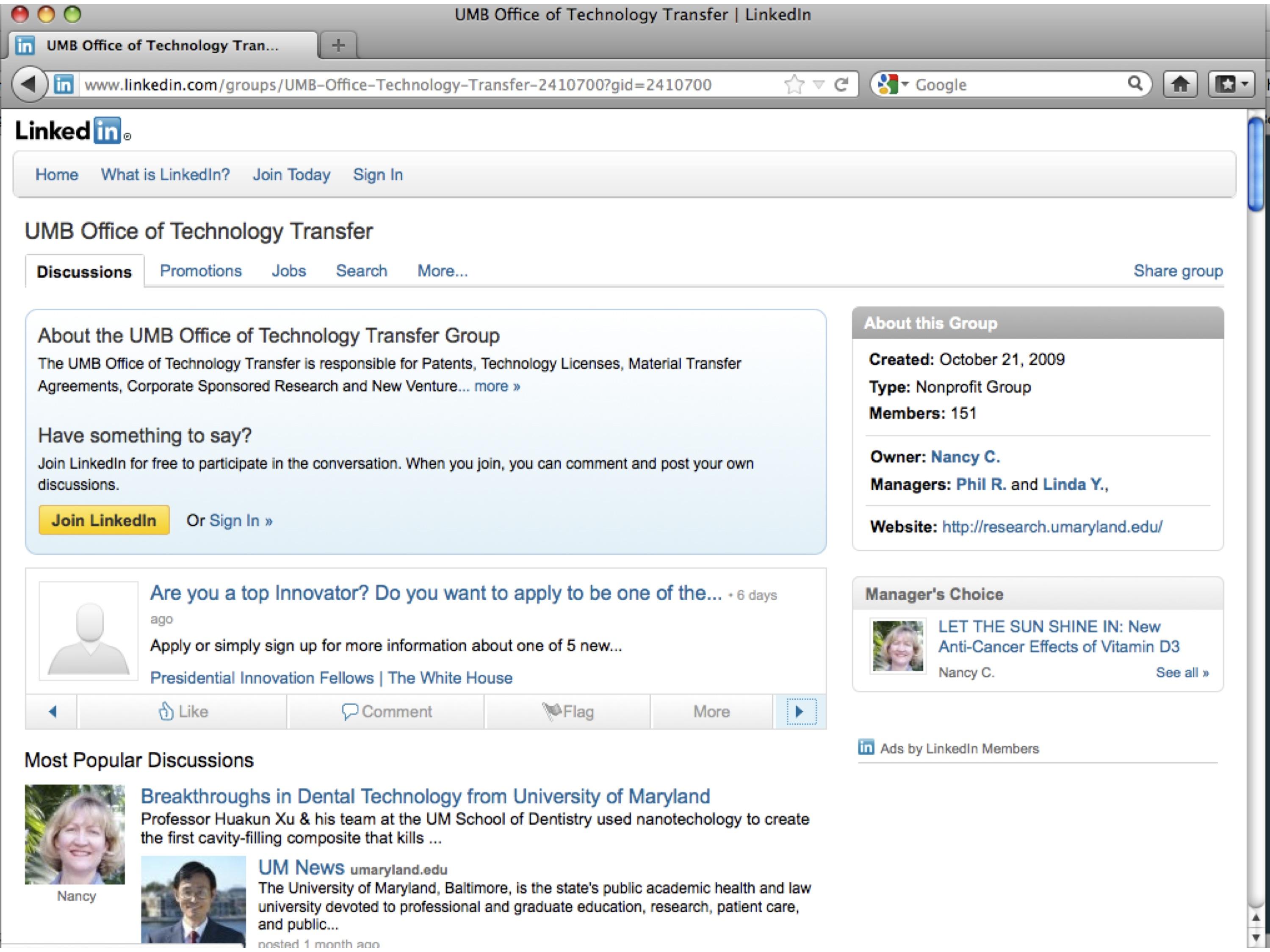 The University of Maryland Office of Tech Transfer LinkedIn Group