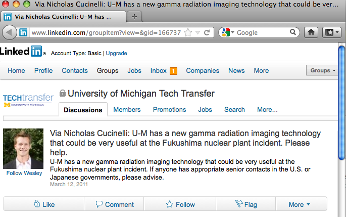 Sample technology posting on LinkedIn from the University of Michigan